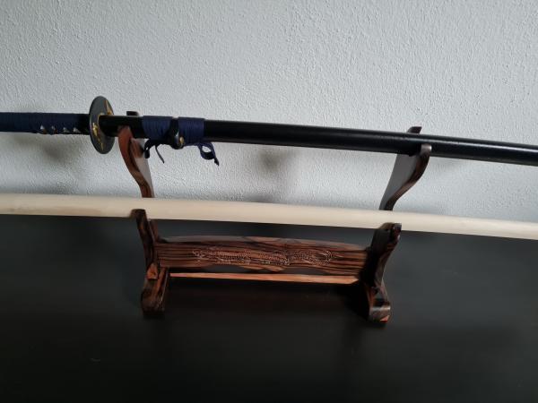 Tischständer für 2 Samuraischwerter aus Ebenholz - Drachenschnitzerei